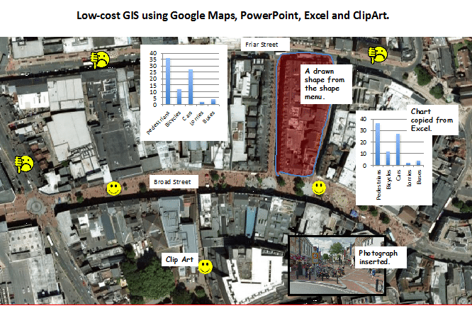 Low-cost GIS using Google Maps, PowerPoint, Excel, Clip Art and Draw
